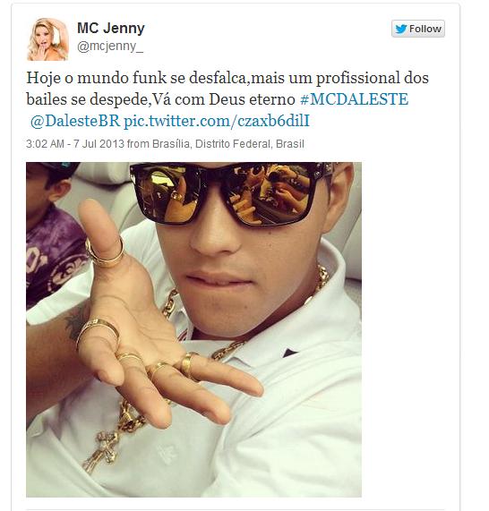 MC Jenny prestou sua homenagem #MCDaleste
