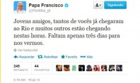 Papa Francisco faz contagem regressiva para Jornada Mundial da Juventude no Twitter
