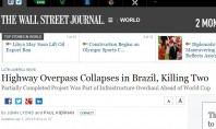 The Wall Street Journal destaca queda de viaduto